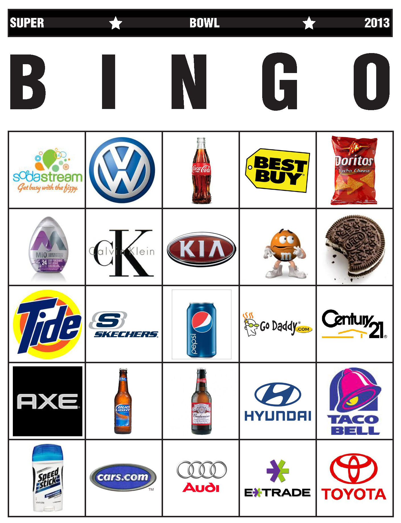 graphic about Printable Super Bowl Bingo Cards known as Tremendous Bowl Bingo, 2013 Model Calamity Jennie