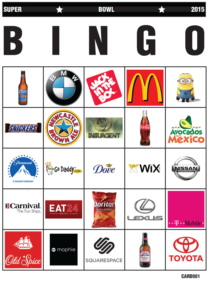 ... football this season, I bring you Super Bowl Ad Bingo, 2015 Edition